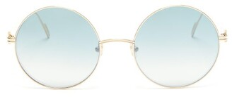 Cartier Eyewear - Premiere De Round Metal Sunglasses - Womens - Blue Silver