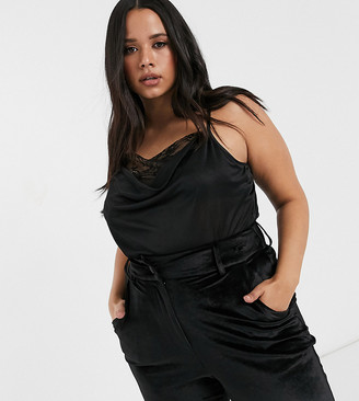 Asos DESIGN Curve exclusive cami with lace trim in black