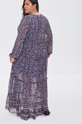 Forever 21 Plus Size Chiffon Floral Maxi Dress