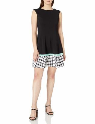 Sandra Darren Women's 1 Pc Sleeveless Extended Shoulder Solid Knit with Border Print Sheath Dress