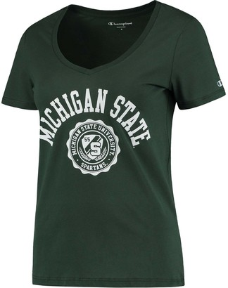 Champion Women's Green Michigan State Spartans College Seal V-Neck T-Shirt