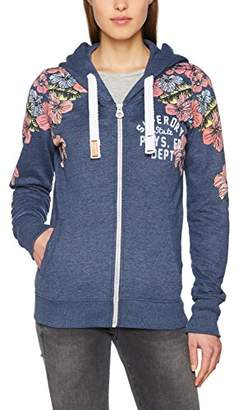 Superdry Women's Tropical Floral Entry Sweatshirt, Princedom Blue Marl BCY, S (Size:10)