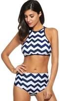 Simple Women Push up Padded Bikini High-waisted Tankinis Chevron Print Swimsuit 2 Piece (M, )
