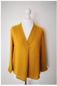 Fleurenplume - Mustard Long-Sleeved Charlior Alma V Neck Blouse - polyester | mustard | large - Mustard