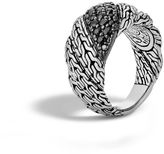 John Hardy Twisted Chain Band Ring with Black Sapphire