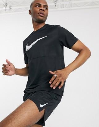 Nike Running swoosh logo t-shirt in black