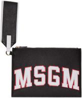 MSGM Black Wristlet Logo Zip Pouch