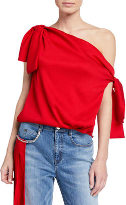 Hellessy Kiki Satin Tied One-Shoulder Top