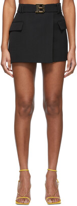 Balmain Black Wool Low-Rise Miniskirt