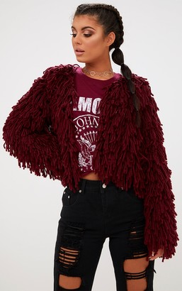 SWAGGER Burgundy Shaggy Knit Cropped Cardigan