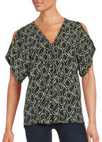MICHAEL Michael Kors Snakeskin Print Cold Shoulder Top