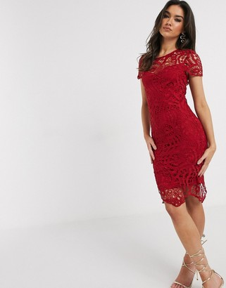 Girl In Mind lace midi dress in berry