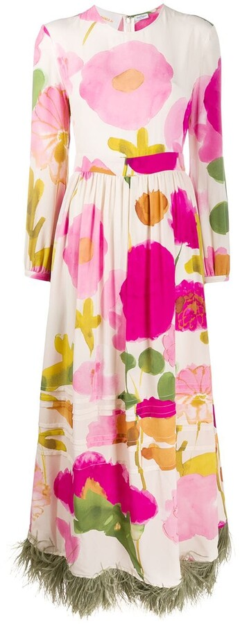 Thumbnail for your product : La DoubleJ Pemberley feathered hem dress