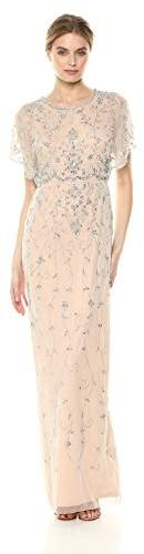 Adrianna Papell Women's Beaded Long Dress with Scalloped Edging, 4