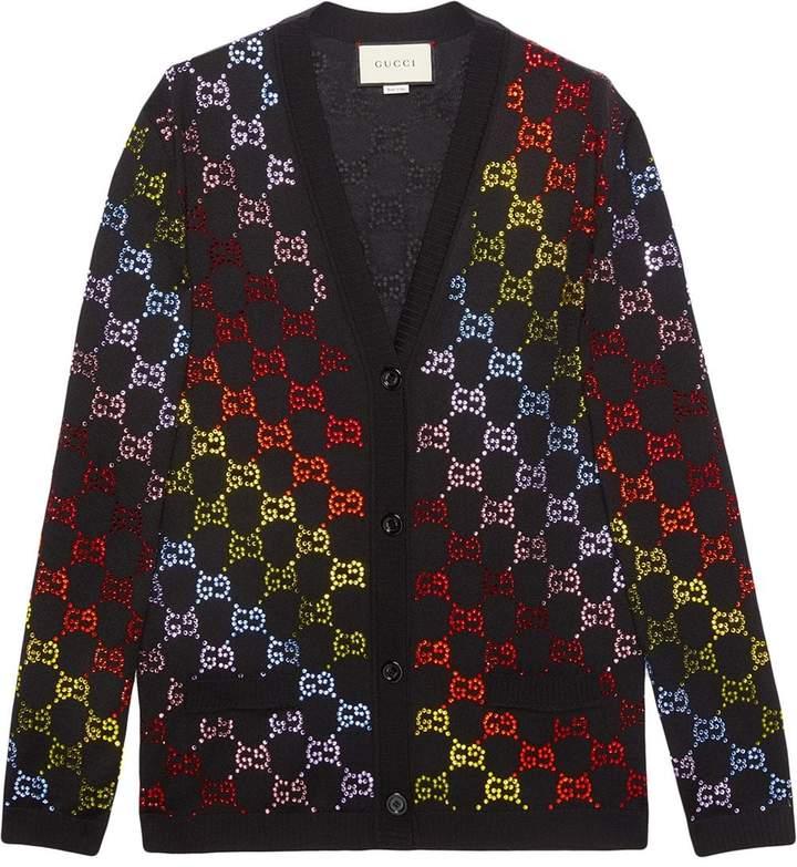 0c724885 Wool cardigan with GG rhinestone motif