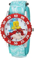 Disney Girl's 'Ariel' Quartz Stainless Steel and Nylon Casual Watch, Color:Green (Model: WDS000051)