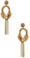 Deepa Gurnani Drop Chain & Leaf Statement Earrings