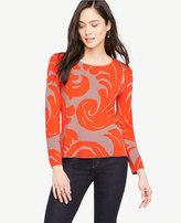 Ann Taylor Fan Leaf Jacquard Sweater