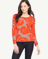 Ann Taylor Petite Fan Leaf Jacquard Sweater