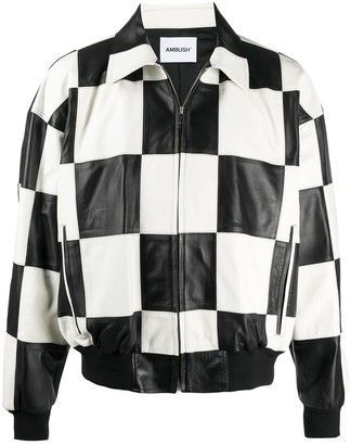 Ambush Checked Leather Jacket