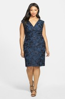Marina Plus Size Women's Embroidered Rosette Sequin Lace Double V-Neck Sheath Dress