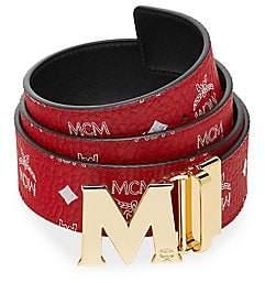 MCM Men's Claus Antique M Reversible Belt in White Logo Visetos