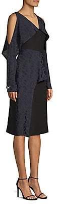 Yigal Azrouël Azrouël Women's Geometric Cold-Shoulder Ruffle Dress