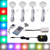 Aiboo RGBWW RGB + Warm white Color Changing Christmas Xmas Under Cabinet LED Lights Kit IR Remote Puck Lamps for Kitchen Counter Counter Furniture Ambiance Lighting (RGBWW, 4 Lights, 12W)