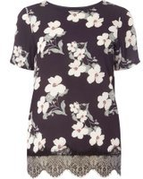 Dorothy Perkins Womens Black Floral Woven Front T-Shirt- Black