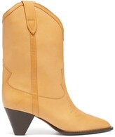 Thumbnail for your product : Isabel Marant Luliete Topstitched Leather Ankle Boots - Beige