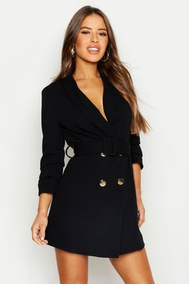 boohoo Petite Self Belt Button Blazer Dress