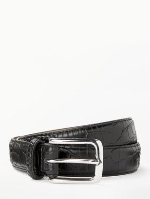 John Lewis & Partners Snake Skin Belt, Black