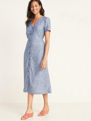 Old Navy V-Neck Button-Front Linen-Blend Fit & Flare Midi Dress for Women
