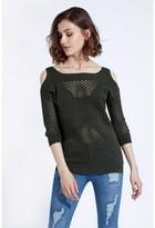 Select Fashion Fashion Mesh Cold Shoulder Jumper Knitwear - size 6