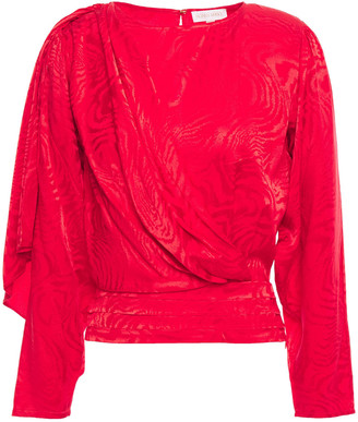Ronny Kobo Draped Satin-jacquard Blouse