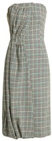 Prada Houndstooth Checked Wool-blend Strapless Dress - Womens - Green Multi