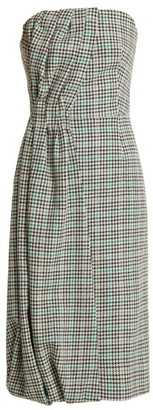 Prada Houndstooth Checked Wool-blend Strapless Dress - Green Multi