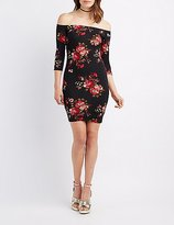 Charlotte Russe Floral Off-The-Shoulder Bodycon Dress