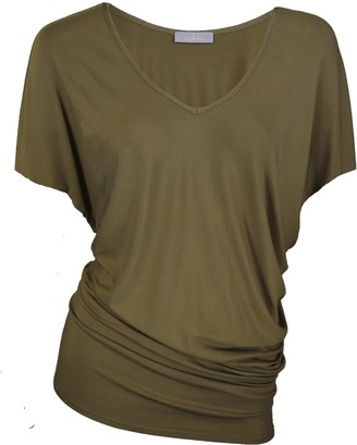 Me & Thee Ex Vivo Olive Bamboo V Neck Tee