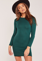 Missguided Petite Long Sleeve Jersey Dress Green