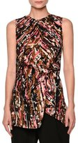 Marni Haze-Print Gathered Sleeveless Blouse, Pink/Multi