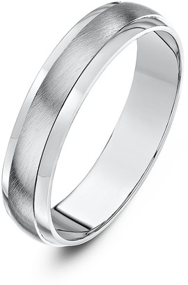 Theia Silver Heavy D-Shape Highly Polished Matt Centre 5 mm Wedding Ring - Size X