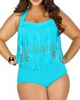 Spring fever for Women Plus Size Retro High Waist Braided Fringe Top Bikini Swimwear(,4XL)