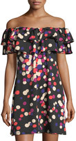 Julie Brown Selina Dot-Print One-Shoulder Dress