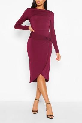 boohoo Long Sleeve Wrap Midi Dress