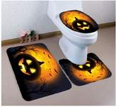 KRWHTS Halloween 3 Piece Bath Mat Set Toilet Rug Bathroom Contour Mat Non-slip Washable Polyester Backing