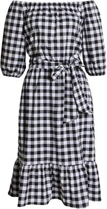 Gibson Off the Shoulder Tie Waist Dress