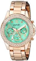 August Steiner Women's AS8136GN Rose Gold Multifunction Quartz Watch with Light Green Dial and Rose Gold Bracelet