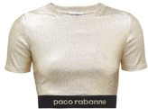 Paco Rabanne Logo-hem Metallic-jersey Cropped Top - Womens - Gold