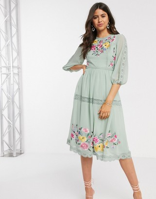 ASOS DESIGN embroidered midi skater dress with lace trims and puff sleeves in sage green